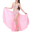 BellyLady Belly Dancing Solid Color Satin Maxi Skirt With Side Slits