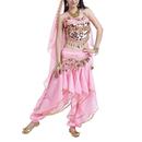 BellyLady Gypsy Belly Dance Costume, Halter Bra/Harem Pants/Hip Scarf/Veil
