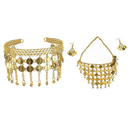 TopTie Belly Dance Gypsy Jewelry, Gold Necklace & Earrings & Tribal Headband