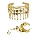 TopTie Belly Dance Gypsy Jewelry Set, Gold Triangle Bracelet & Tribal Headband