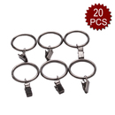 Aspire Decorative Drapery / Shower Curtain Rings With Clips, 35mm, 20 Pcs