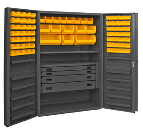 "Durham DCBDLP724RDR-95 Cabinets with Hook on Bins , Adjustable Shelves and Drawers 48"" Wide"