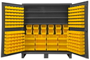 Durham HDC72-192-3S95 12 Gauge Cabinets with Hook-On Bins & Shelves, 24X72X78, 192 Bins