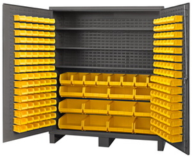 "Durham SSC-722484-BDLP-212-3S-95 Cabinets with Hook on Bins and Adjustable Shelves 72"" Wide"