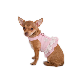 Doggles Harness Dress - Hemp Xxs Pink With Flower