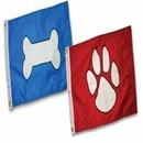 Paws Aboard Paw Print Flag - Red