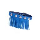 Vanderpump Pets -VFS-MD-BL Fringe/Diamond Suede Collar - Blue MD 16 in