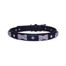 Vanderpump Pets VPDBC-XS-BK Diamond/Bone Collar - Black XS 12 in