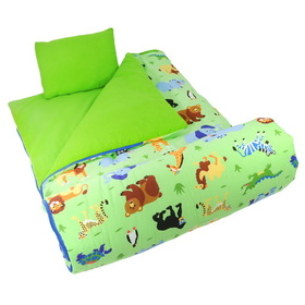 Wildkin 17080 Olive Kids Wild Animals Sleeping Bag, Green