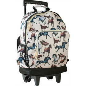Wildkin 44025 Horse Dreams High Roller Rolling Backpack, Brown