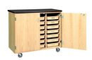Diversified Woodcrafts 4751K Mobile Tote Tray Storage Cabinet