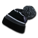 Decky 689 Giant Pom Beanies - Grey/Black