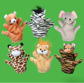 GOGO Soft Plush Zoo Animal Hand Puppets, Set of 6, Price/SET