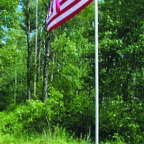 Dock Edge 6012A-F Flag Pole, 12', Alum, Ground Mt. c/w USA Flag
