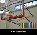 "Douglas 39733 Indoor Wall Mount Basketball System, 6-9' Ext., 72"" Glass Backboard"