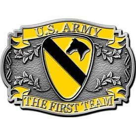 "Eagle Emblems BUCKLE-ARMY, 001ST CAVALRY (2-3/8"")"