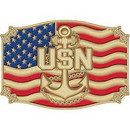 "Eagle Emblems BUCKLE-USN, II (3-1/4"")"
