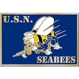 "Eagle Emblems BUCKLE-USN, SEABEES-AM.HER (3-1/4"")"