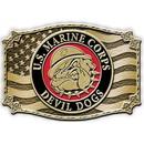 Eagle Emblems B0129 Buckle-Usmc, Bulldog (3-1/4