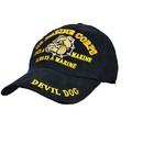 Eagle Emblems CAP-USMC, BULLDOG BLACK/BRASS-BUCKLE
