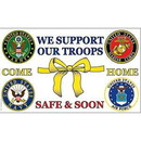 Eagle Emblems F1354 Flag-Support Our Troops (3Ftx5Ft) Come Home Safe .