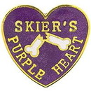 "Eagle Emblems PIN-SKIER PR HEART  (1"")"