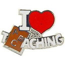 "Eagle Emblems PIN-I HEART TEACHING  (1"")"