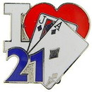 "Eagle Emblems PIN-GAME, CARD, I HEART 21  (1"")"