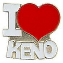 "Eagle Emblems PIN-GAME, KENO, I HEART  (1"")"