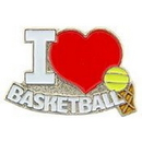 "Eagle Emblems PIN-BASKETBALL, I LOVE (1"")"