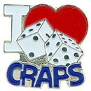 "Eagle Emblems PIN-GAME, CRAPS, I LOVE (1"")"