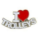 "Eagle Emblems PIN-RR, I LOVE TROLLEYS (1"")"