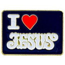 "Eagle Emblems PIN-ORG, JESUS, I HEART (1"")"