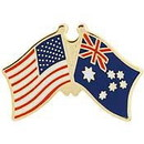 "Eagle Emblems PIN-USA/AUSTRALIA (CROSS FLAGS) (1"")"