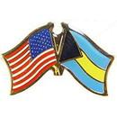"Eagle Emblems PIN-USA/BAHAMA (CROSS FLAGS) (1"")"