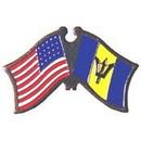 "Eagle Emblems PIN-USA/BARBADOS (CROSS FLAGS) (1"")"