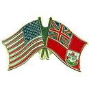 "Eagle Emblems PIN-USA/BERMUDA (CROSS FLAGS) (1"")"