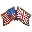 "Eagle Emblems PIN-USA/GREAT BRITAIN (CROSS FLAGS) (1"")"
