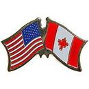 "Eagle Emblems PIN-USA/CANADA (CROSS FLAGS) (1"")"