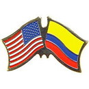 """Eagle Emblems PIN-USA/COLOMBIA (CROSS FLAGS) (1"""")"""