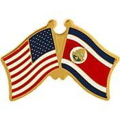 "Eagle Emblems PIN-USA/COSTA RICA (CROSS FLAGS) (1"")"
