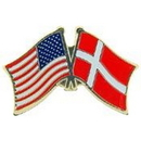 "Eagle Emblems PIN-USA/DENMARK (CROSS FLAGS) (1"")"