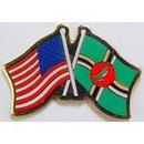 "Eagle Emblems PIN-USA/DOMINICA (CROSS FLAGS) (1"")"