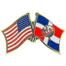 """Eagle Emblems PIN-USA/DOMINICAN REP. (CROSS FLAGS) (1"""")"""