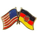 "Eagle Emblems PIN-USA/GERMANY-EAST (CROSS FLAGS) (1"")"