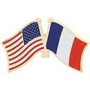 "Eagle Emblems PIN-USA/FRANCE (CROSS FLAGS) (1"")"
