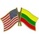 Eagle Emblems P09769 Pin-Usa/Lithuania (Cross Flags) (1-1/8