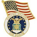 "Eagle Emblems PIN-USAF LOGO W/USA FLAG (1"")"