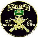 """Eagle Emblems PIN-ARMY, MESS W/BEST, RNGR  (1"""")"""
