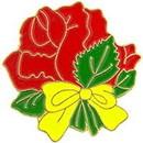 "Eagle Emblems PIN-PLANT, ROSE W/BOW  (1"")"